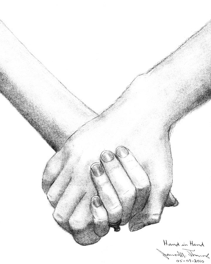 719x900 Hand In Hand Drawing By James M Thomas
