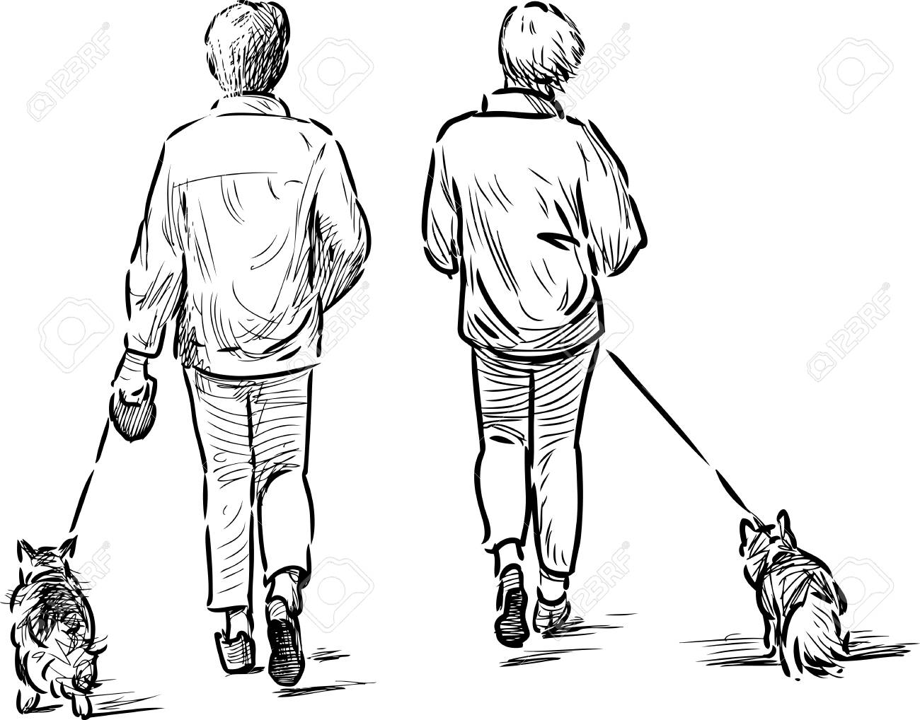 1300x1018 Hand Drawing Of The People With Their Pets On A Walk Royalty Free