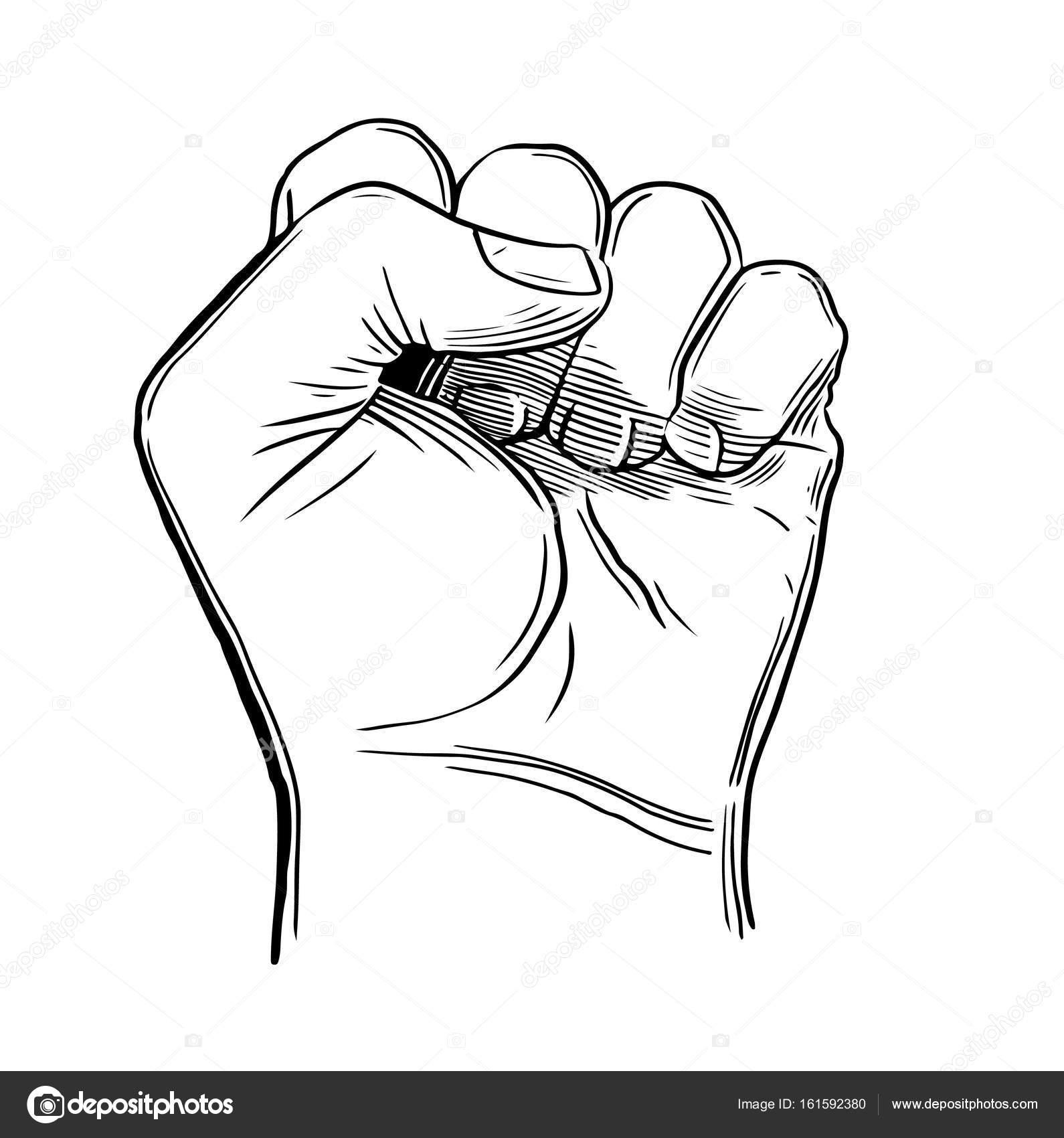 1590x1700 Sketch Drawing Fist Hand Gesture Stock Vector Lastrooo