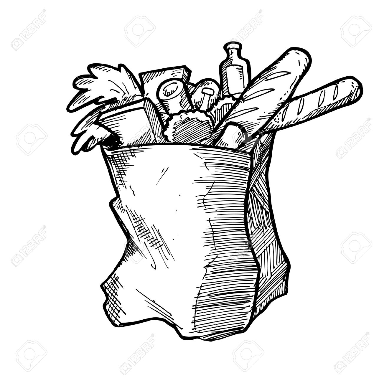 1286x1300 Hand Drawn Grocery Bag Royalty Free Cliparts, Vectors, And Stock