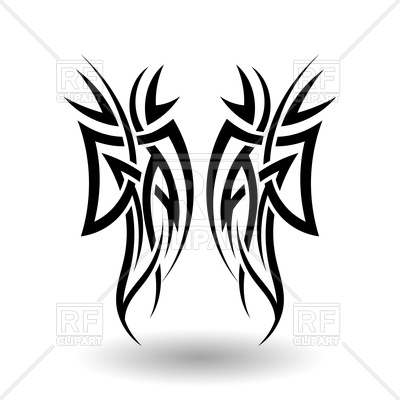 400x400 Hand Drawn Tribal Tattoo Wings Royalty Free Vector Clip Art Image