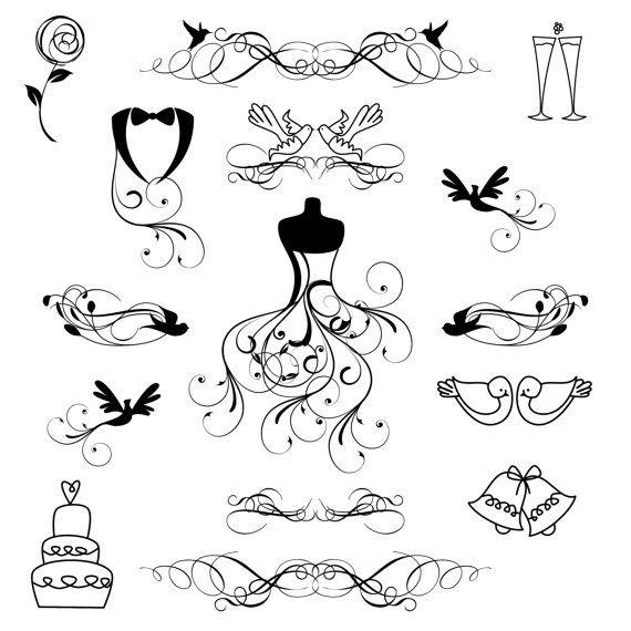 570x570 Hand Drawn Wedding Clip Art Clipart Wedding Silhouettes Clip Art
