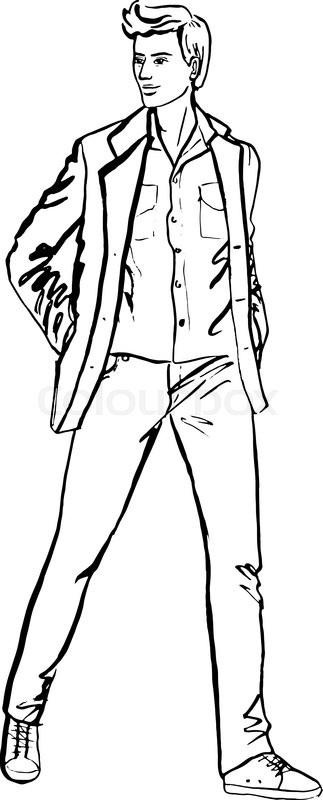 323x800 Illustration Of Standing Handsome Man. Fashion Outline Ink Hand