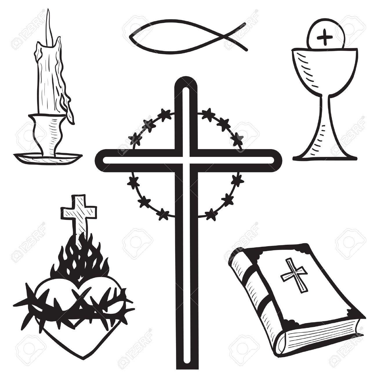 1300x1300 Christian Hand Drawn Symbols Illustration