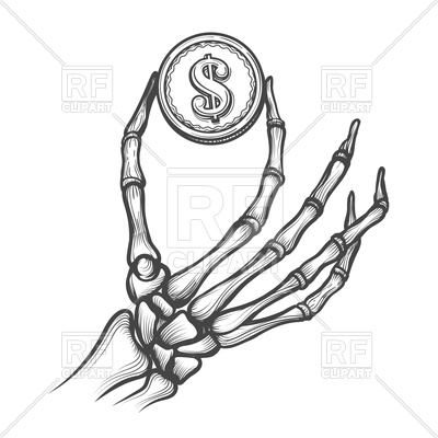 400x400 Skeleton Hand With Coin Hand Drawn Royalty Free Vector Clip Art