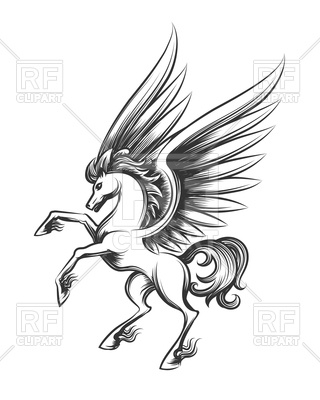 320x400 Winged Horse Engraving. Hand Drawn Pegasus Or Flying Mustang