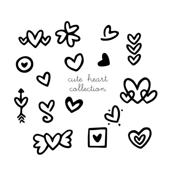 570x570 Hearts Clipart, Doodles Heart Png Cute Doodled Black White