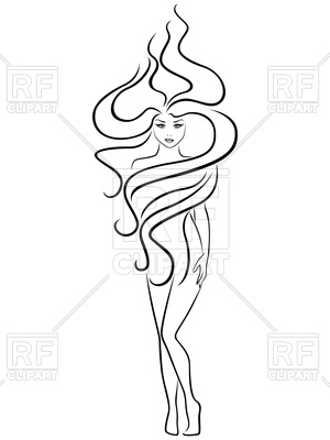 300x400 Female With Extraordinary Hairstyle, Hand Drawing Outline Royalty