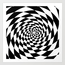 228x228 Optical Illusion Op Art Black And White Retro Style Art Print By