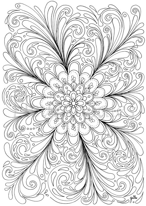 501x709 Coloring Page Mandala Printable Floral Illusion Flower