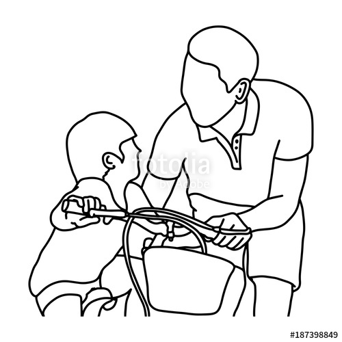 500x500 Child Learning To Ride A Bike With His Father Vector Illustration