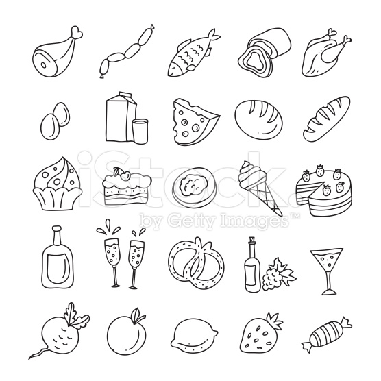 556x556 Vegetables, Fruit, Meat, Milk, Eggs, Sweets Hand Drawn, Outlines