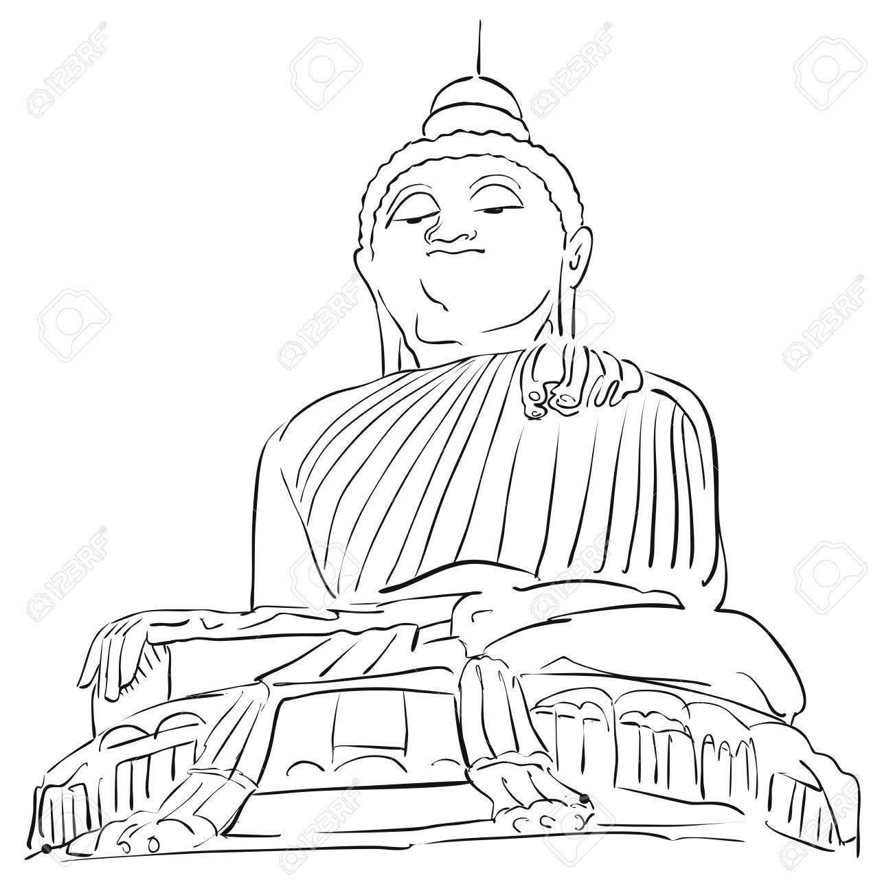1300x1300 Big Buddha Phuket Outline Sketch, Famous Tourist Lansmark, Hand
