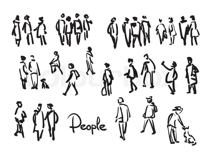 800x599 Casual People Sketch. Outline Hand Drawing Illustration Stock