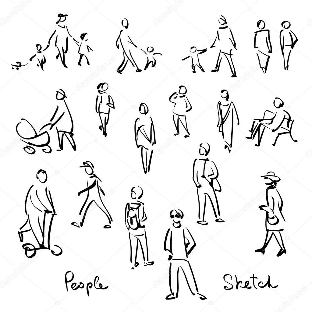 1024x1024 Casual People Sketch. Outline Hand Drawing Vector Illustration