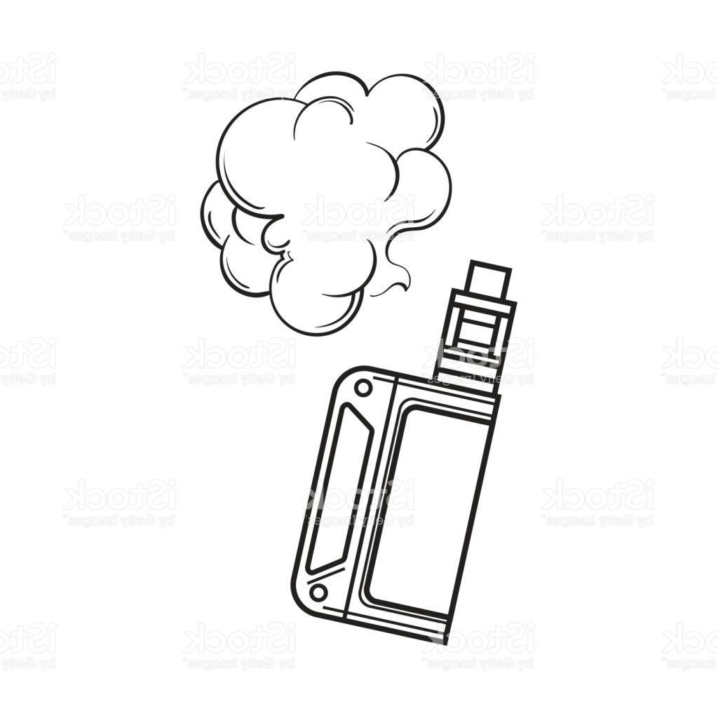 1024x1024 Best 15 Hand Drawn Vape Vaping Device With Smoke Cloud Sketch