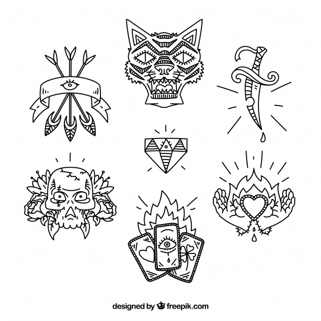 626x626 Ethnic Hand Drawn Tattoo Pack Vector Free Download