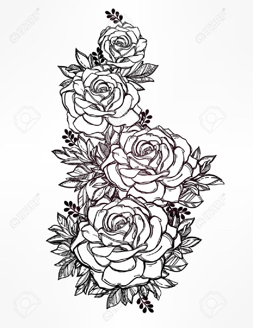 1000x1300 Flower Bunch Tattoo Sketch Vintage Floral Highly Detailed Hand