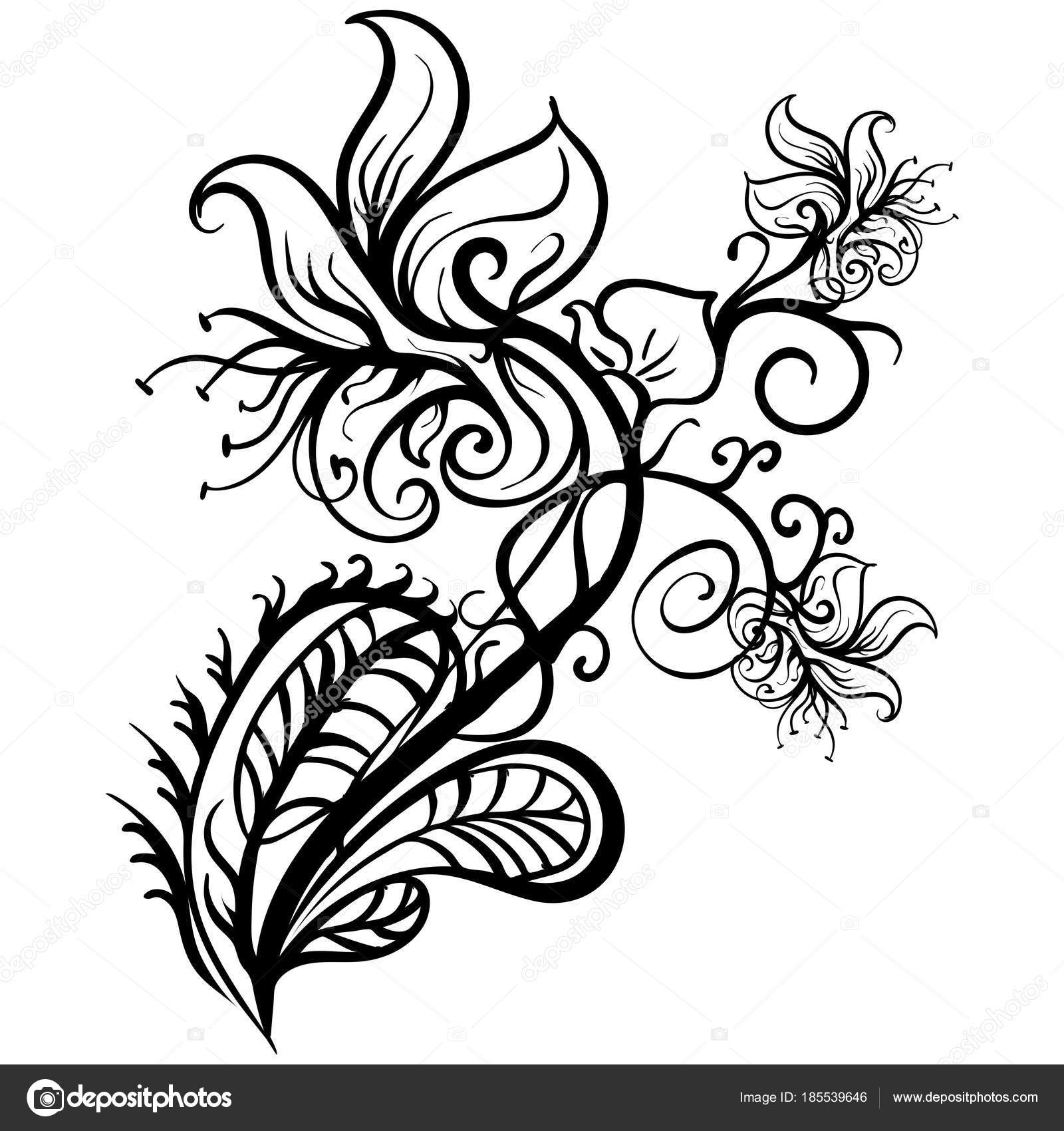 1600x1700 Hand Drawn Flowers Lilies Tattoo Sketch Vector Stock Vector