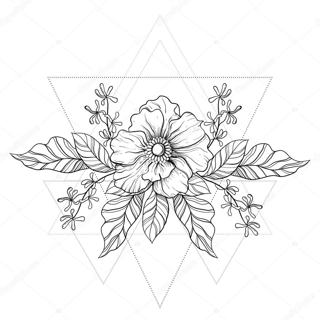 1024x1024 Hand Drawn Boho Tattoo. Blackwork Flower In Hipster Triangles Fr