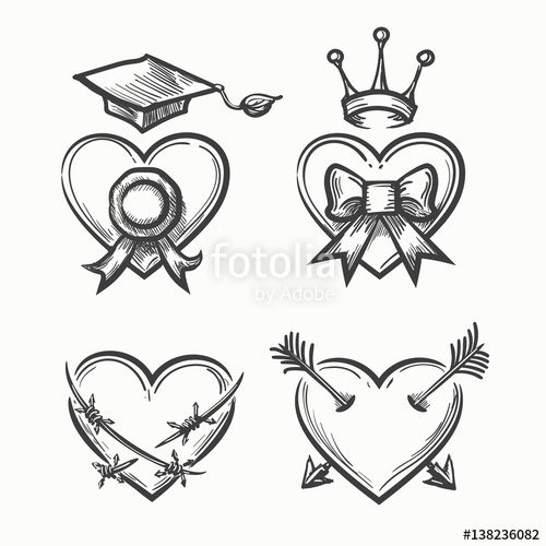 500x500 Hand Drawn Hearts In Tattoo Sketch Style. Heart With Crown
