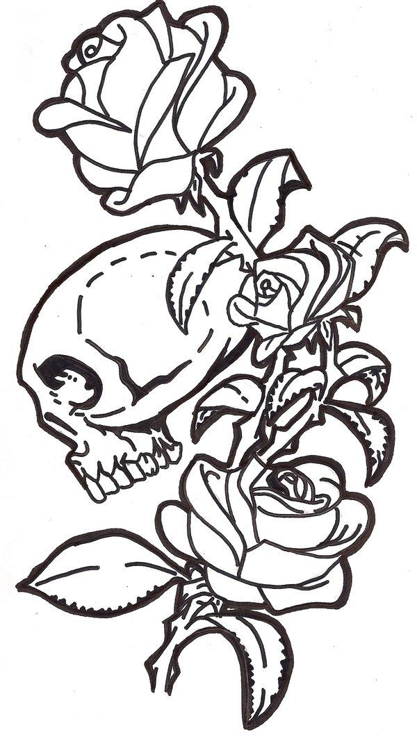 600x1087 Hand Drawn Skull Tattoo By Whokares
