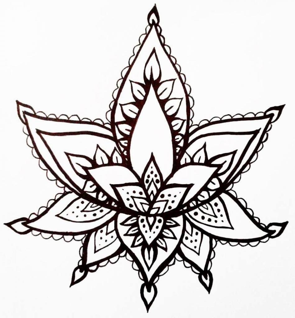 949x1024 Lotus Flower Drawing Lotus Flower Temporary Tattoo Hand Drawn