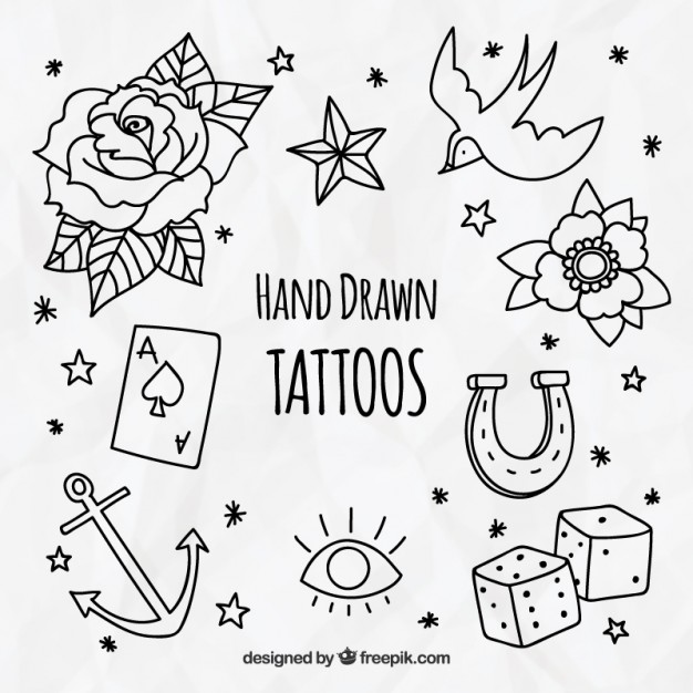 626x626 Pack Of Decorative Hand Drawn Tattoos Vector Free Download