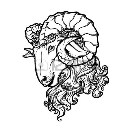 450x450 Side View Of A Ram Head With Big Twisted Horns. Intricate Hand
