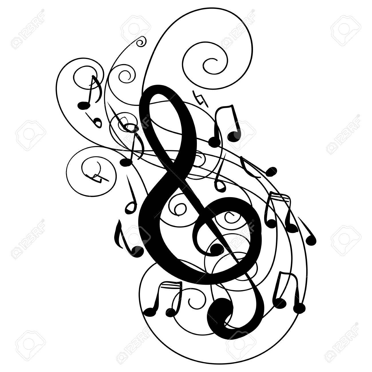1300x1300 Swirl Whirl Treble Clef Key Hand Drawn Doodle Isolated Vector