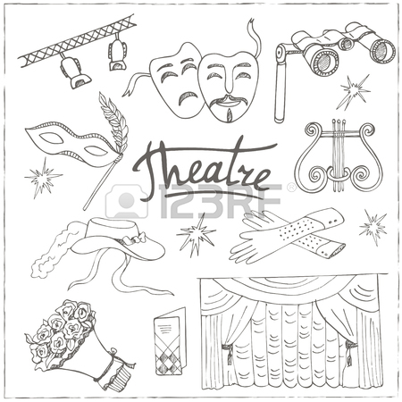 450x450 Hand Drawn Doodle Theater Set Masks Lyra Flowers Curtain Stage