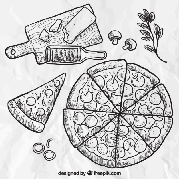 626x626 Hand Drawn Pizza Vector Free Download