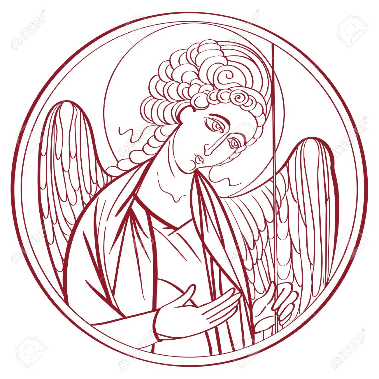 1300x1300 Archangel Outline Drawing, Hand Drawn Illustration Of An Orthodox