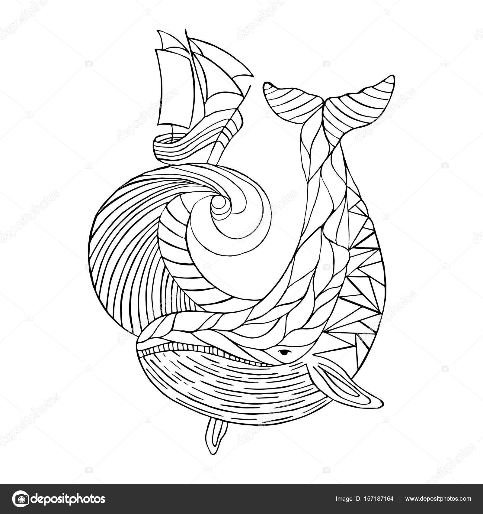 1600x1700 Sea Dudling, Drawing Hand Drawn Whale Wave, Vector Illustration