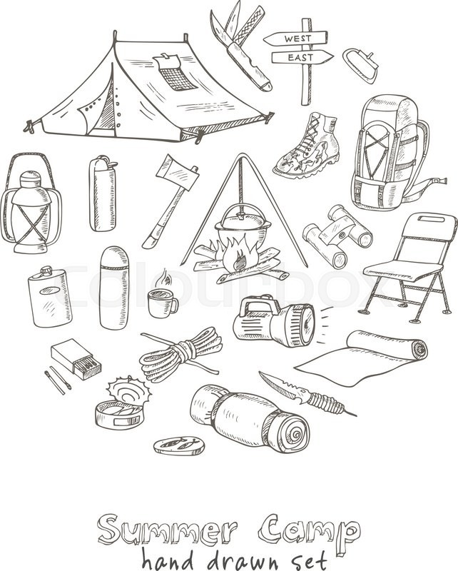 642x800 Set Of Hand Drawn Camping Equipment Drawings. Sketches. Hand