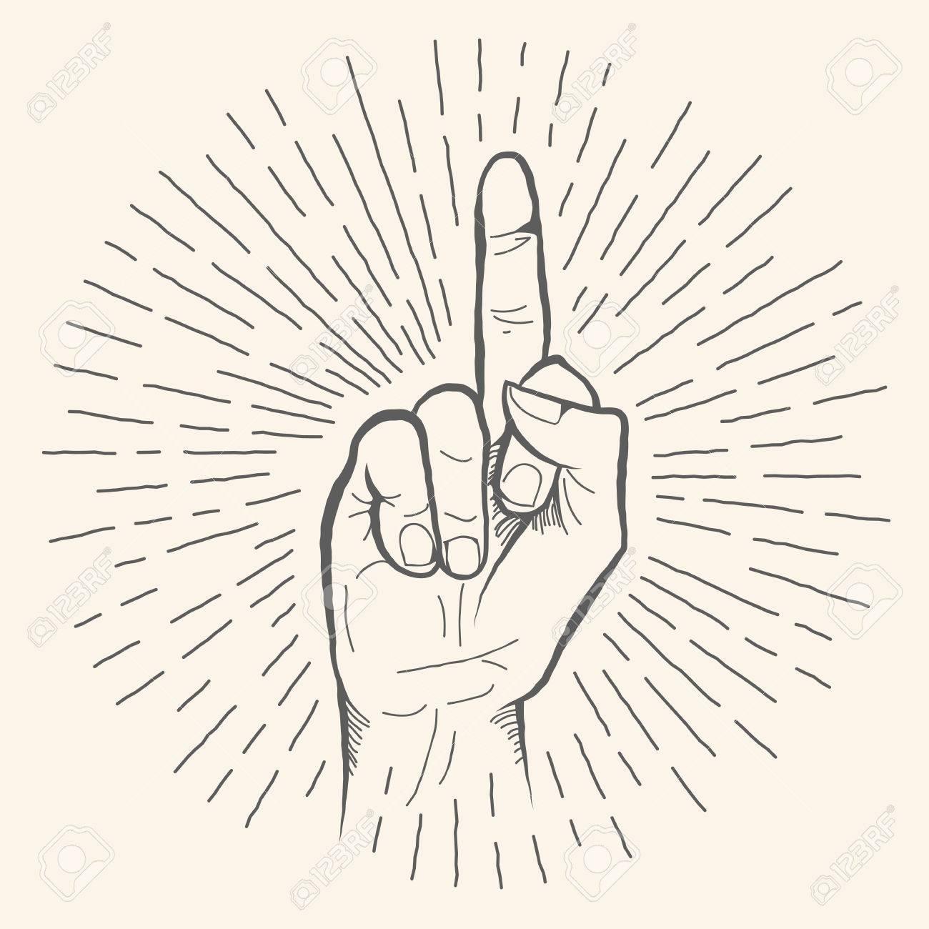 1300x1300 Vector Hand Gesture. Obscene Fuck Off Hand Drawn Sign. Vector