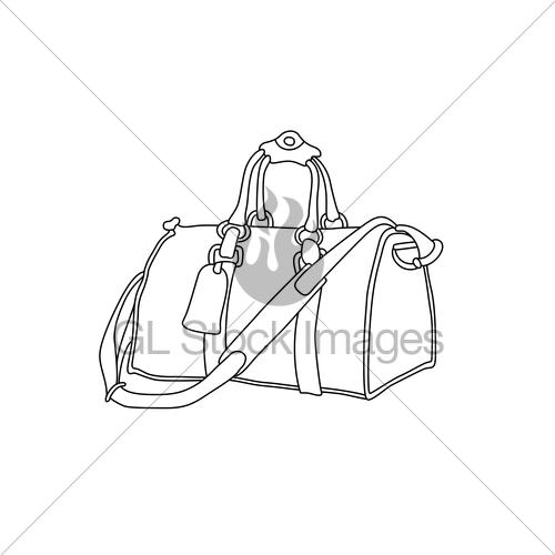 500x500 Vector Illustration Of Travel Bag. Hand Drawn Sketch Suit Gl