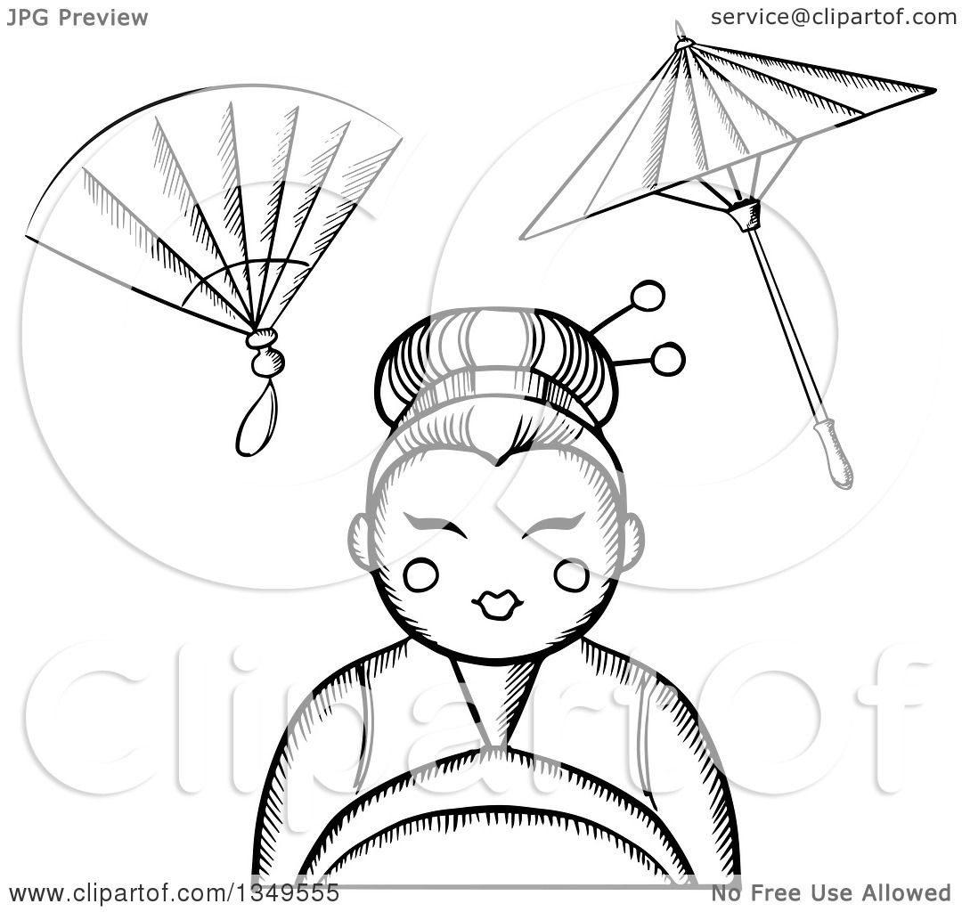 1080x1024 Clipart Of A Black White Sketched Geisha With A Hand Fan