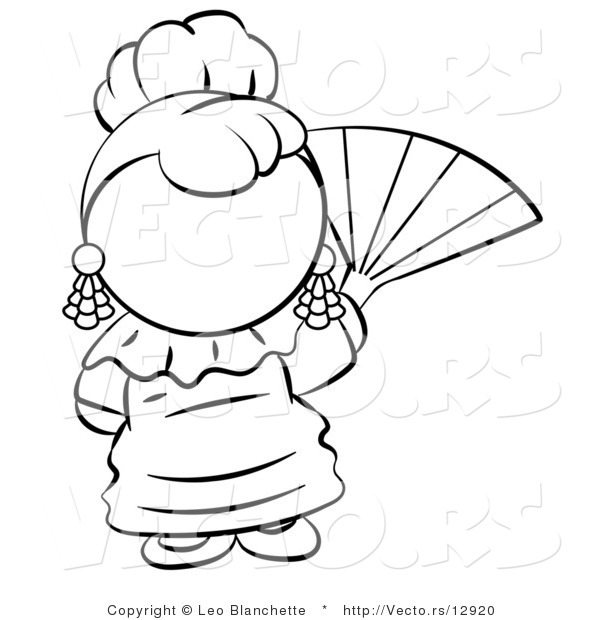 600x620 Fan Clipart Coloring Page