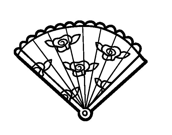 600x470 Floral Hand Fan Coloring Page