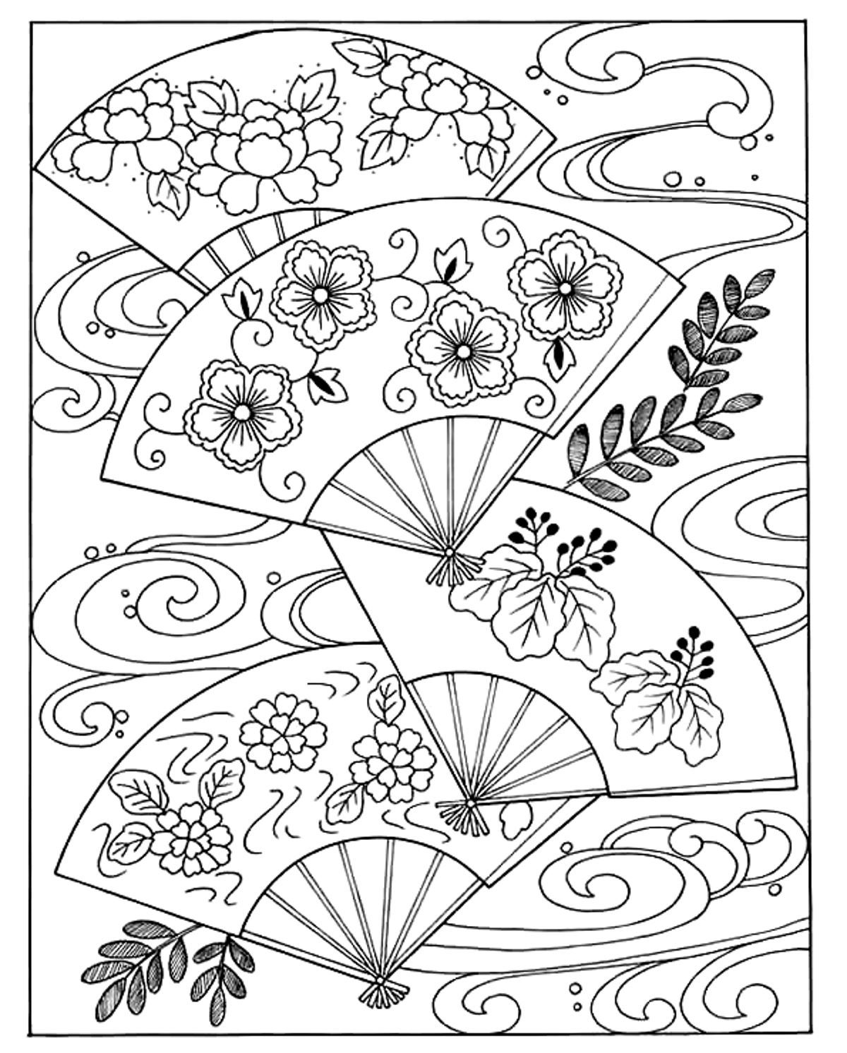 1200x1492 Free Coloring Page Coloring Japanese Hand Fan. Coloring Japanese