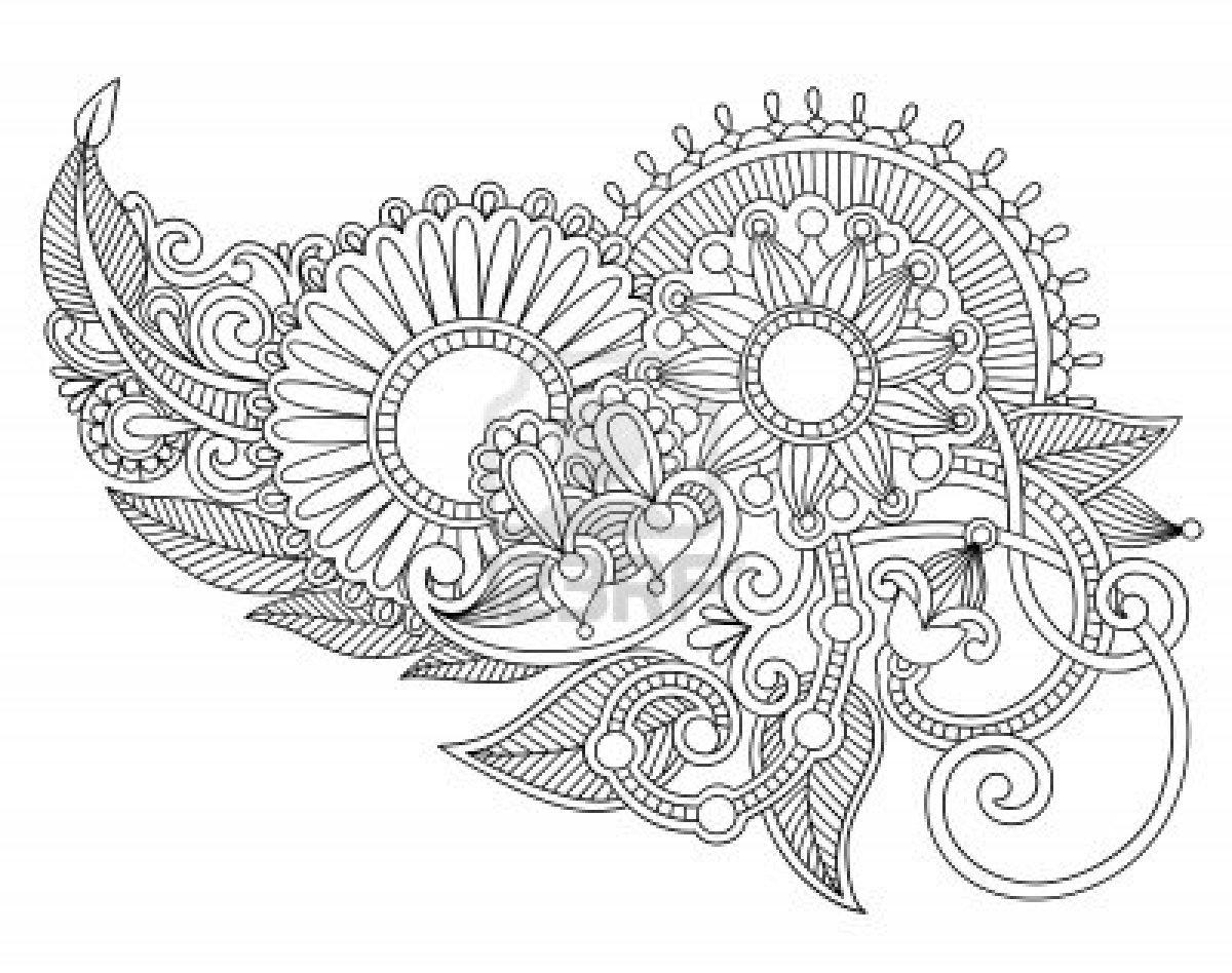 1200x948 Hand Draw Line Art Ornate Flower Design. Ukrainian Traditional