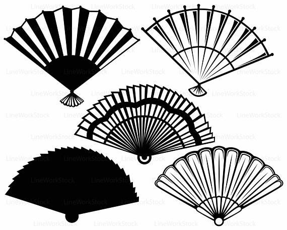 570x456 Hand Fans Svg,fan Clipart,fan Svg,fan Silhouette,hand Fans Cricut