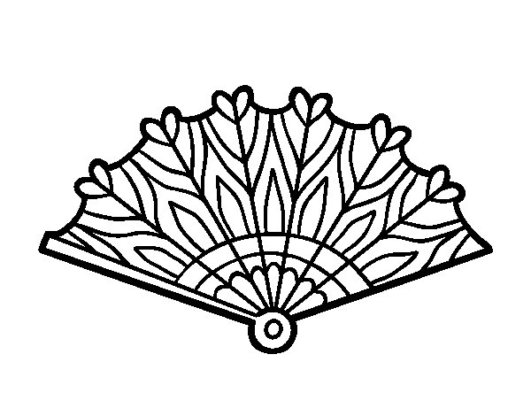 600x470 Heart Hand Fan Coloring Page