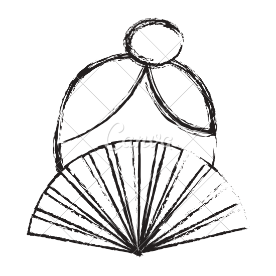 550x550 Woman And Hand Fan Icon