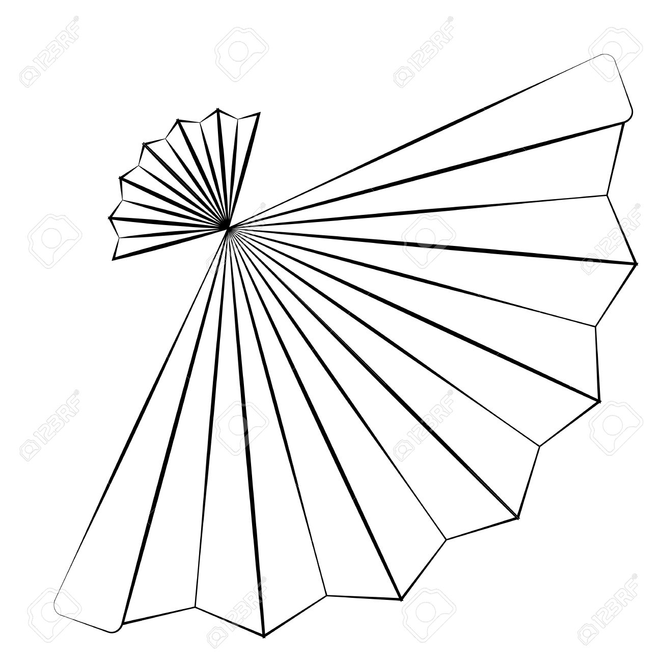1300x1300 Black Outline Vector Fan On White Background. Royalty Free