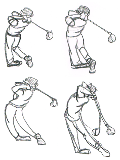 477x635 Several Gesture Drawings Of A Golfer After Swinging The Club