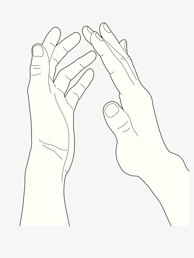 650x867 Single Handed Hand Clapping Gesture, Single Line Hand Drawing