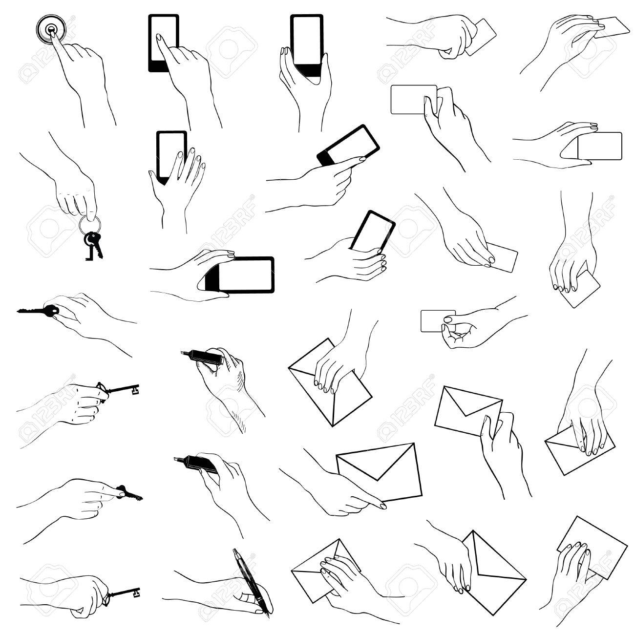 1300x1300 Hand Gestures Collection. Hands Holding Key, Phone, Card. Sketch