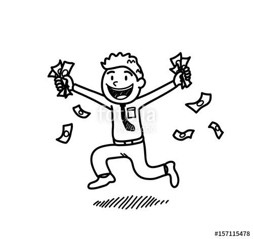 500x471 Rich Businessman Holding On Money, A Hand Drawn Vector Cartoon